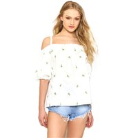 Wholesale Summer Shirts Blouses - Ruffles Sexy Summer Flower Women Shirts Prints Off Shoulder White Plus Size Loose Mujer Embroidery Blouses Women Wear Free Shipping 70N0326