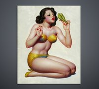 Wholesale Nude Body Painting - Hot sexy open photos Girl and birdie b f wallpaper Wall art painting Poster Body photograph Wholesale and retail