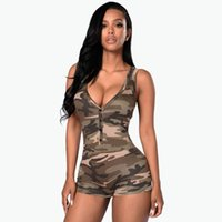 Wholesale Sexy Leopard Bodysuit Xl - Women Jumpsuit 2016 Sexy Romper Army Camouflage Bodysuit Bodycon Deep V Neck Short Pant Sleeveless Suit Feminino Playsuits