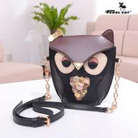Wholesale Owl Phone Purse - Drop Shipping Pu leather women owl Fox cartoon Cross body shoulder bags Fashion Phone bag purse Cute Chain Messenger Bags