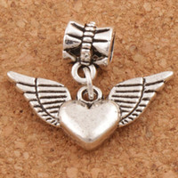 Wholesale Metal Charms Wing - Angel Wing Heart Big Hole Beads 100pcs lot 21.8x24.5mm Antique Silver Fit European Charm Bracelets Jewelry DIY B189