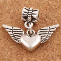 Wholesale antique bracelet love online - Angel Wing Heart Big Hole Beads x24 mm Antique Silver Fit European Charm Bracelets Jewelry DIY B189