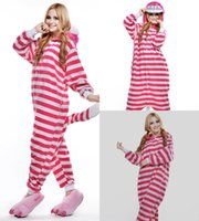 Wholesale White Cat Halloween Costume - Lovely Cat Cheap Red And White Stripes Easily Kigurumi Pajamas Anime Pyjamas Cosplay Costume Adult Unisex Onesie Dress Sleepwear Halloween