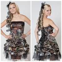 Wholesale Dress Min - New Strapless A-Line Camo Homecoming Dresses Short Min Camouflage Black Tulle Graduation Prom Party Gowns Lace Up Back