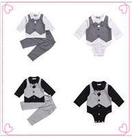 Wholesale Baby Romper Vest Suit - 2017 Kids Baby Boy Clothes Suit Vest+bow Shirt Romper+Pants Fake 2 Pieces Formal Gentleman Wedding Clothing Set Age 0-2Y