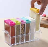 Plastic spice rack jars - Clear Seasoning Rack Spice Pots Piece Acrylic Seasoning Box Storage Container Condiment Jars Kitchen Accessories