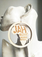Wholesale Blessing Mix - free shipping 2017 new JAH BLESS MAMA AFRICA wood earring for fashion african lady , 3 style can mix