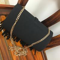 Wholesale Grey Evening Purse - New women tassel chain single shoulder handbag lady fashion evening casual purse black red brown color no358