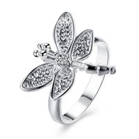 Wholesale Diamond Wedding Bands For Ladies - Elegant 925 Silver Plated Rings Jewelry Cute Dragonfly With Diamond Crystal Rings For Ladies Women Free Shipping