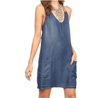 Wholesale Loose Solid Tank Dresses - 2017 Women Sexy Denim Dresses Casual Loose Camisole Tanks Tops Blue Plus Size Slim Camis Sleeveless Hollow TShirts Blouse Backless YYFS 5265
