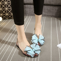 Wholesale Peep Toe Jelly Shoes - 2017 Fashion Summer Women Sandals Sweet Comfort Causal Women Jelly Crystal Shoes Peep Toe Women Flats Bowtie Slides Beach Shoes