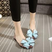 Wholesale Comfort Shoes Heels - 2017 Fashion Summer Women Sandals Sweet Comfort Causal Women Jelly Crystal Shoes Peep Toe Women Flats Bowtie Slides Beach Shoes