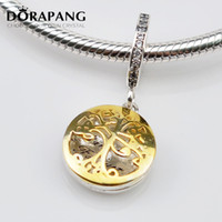 Wholesale Gold Toned Lockets - DORAPANG Authentic 925 Sterling Silver Bead Charm Gold Family Roots two-tone locket Pendant Bead Fit Women Bracelet Bangle Diy Jewelry