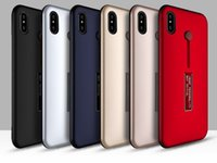 Wholesale Hide Painting - Raytheon series phone case, 2-in-1 Leather paint hidden ring brackets protective cover case for iPhone 8 iPhone X