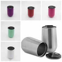 Wholesale Stainless Steel Travel Mug Cup - 6 Colors New Egg Cup 16oz Wine Glasses Stainless Steel Vacuum Insulated Cups Tumbler Oudoor Travel Stemless Wine Mugs CCA6669 30pcs