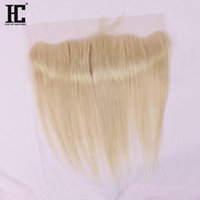Wholesale Hc One - HC Hair 613 Blonde Lace Frontal Brazilian Straight Weave 13x4 Ear To Ear Closure With Baby Hair One Bundle 8-20Inch Pre Plucked