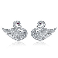 Wholesale 925 Swan Earring - NEKANI Real 925 Sterling Silver Earrings Stud Earrings Womens Girls Fashion Jewelry Swan Wings Heart Flower Shape
