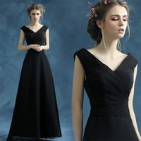 Wholesale Girls Under Wear Models - Sexy Black A Line Chiffon Evening Prom Dresses Evening Wear Pleated V neck Cap Sleeves Girls Party Formal Dress Under 100