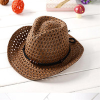 Wholesale Tie For Children Girls - Kids Cowboy Beaded Straw Sun Hat Beach Visor Cap Outdoor For Summer Free Shipping