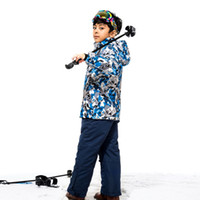 Wholesale Snow Suits For Kids - Wholesale- Dropshipping New Kids Winter Ski and snowboarding Windproof Warm Ski Suits Children Set Snow Jacket + Pants For Boys 110-160cm