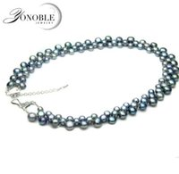 Wholesale Three Rows Necklace Pearls - YouNoble real freshwater black pear necklace for women,natural pearl necklaces colorful three rows clasp chunky