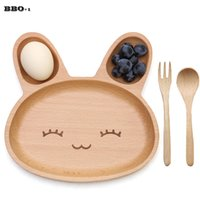 Wholesale Kids Dinner Plate Set - 1 set Cute Rabbit Face Wood Dinner Plate Wood Fork Spoon Kids Cartoon Pattern Food Fruit Dish Tray Child Baby Serving Wood Plate