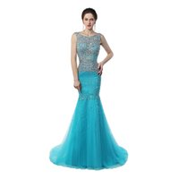 Wholesale gold sparkle shorts - Real sample Scoop Neck Mermaid Prom Long Dresses Sweep Train Sparkling Crystal Ice Blue Cheap Long Prom Gowns
