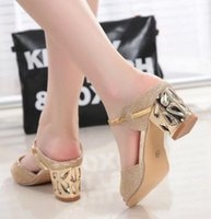 Wholesale Shoes Sequins Fish - Fashion Women rough with sandals sexy fish mouth fashion sequins large size comfortable shoes