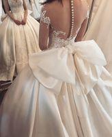 Wholesale Big Ivory Satin Bow - Luxury Satin Bridal Dresses Sweetheart Button Sheer Back Lace With Big Bow Back Wedding Dresses Custom Made