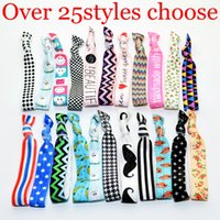 Wholesale Printed Elastic Hair Ties - 100 Pcs lot (25 Colors Option) INS Woman Chevron Knotted Ribbon Print Hair Tie Ponytail Holders Stretchy Elastic Letter Floral Headbands