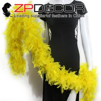 Wholesale Wholesale Feather Boas Cheap - NEW ARRIVAL ZPDECOR Feathers 80g 2yards lot Cheap yellow turkey chandelle feather boas For Party Centerpiece