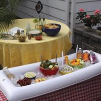 mesas de acampamento legal venda por atacado-Novo Branco Inflável Serving Bar Buffet De Salada De Gelo Cooler Piquenique Bebida Mesa Do Partido Acampamento DHL Frete Grátis