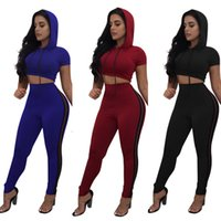 Wholesale Cheap Cycling Pants - Women's Cotton Tracksuit Sets Casual Sport Workout Hooded Crop Top Long Pant Jumpsuits Rompers   S-XXL   Wholesale Cheap DHL Fast Shipping
