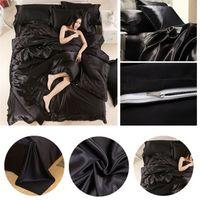 Wholesale Silk Quilt Comforter Black - Black Satin Silk Bedding Pillowcases Duvet Quilt Cover Set Pillow Cover Bedsheet Home Bedroom Bedding Set Home Textiles