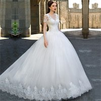Wholesale elegant short plus size wedding dress resale online - Elegant Lace Short Sleeves V Neck Appliques Wedding Dress Bal Gowns Bridal Gowns Robe de Soiree