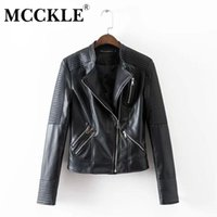 Wholesale leather jacket sexy woman - Wholesale- MCCKLE Women's Black Motorcycle Soft PU Leather Jacket Fashion Brand Design Classic Biker Jackets sexy Women Outwear Coat new