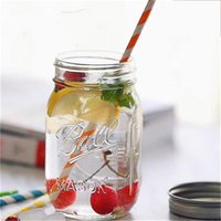 Wholesale Sealed Jars - Fancy Mason Jar Glass Beverage Bottle Fruit Jam Pot Sealed Container Vegetable Salad Tin Transparent Glass With Cover 1 45hc A R