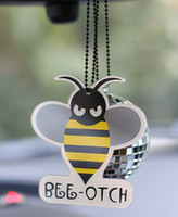 Wholesale Mirror Ball Ornament - New Bumblebee Bling Ball Car Pendant Auto Rearview Mirror Ornament Hanging Charm