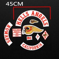 Wholesale 45CM Large Size HELLS ANGELS LIVE TO RIDE Embroidered Iron on Patches Jacket and Vest Biker Patches Motorcycle DIY MC PATCHES