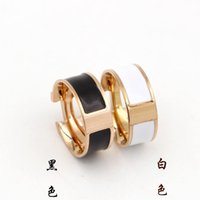 Wholesale Steel Enamel Rings - Hot sale 316L Titanium Steel Fashion Ring with enamel four colors women and man original brand H ring Jewelry Free Shipping PS5408