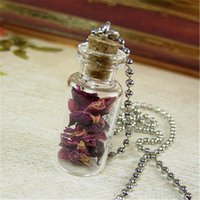 Wholesale dried petals - 12pcs lot Red Roses Necklace Real Dried Rose Petals Glass Bottle Necklace Pendant silver tone