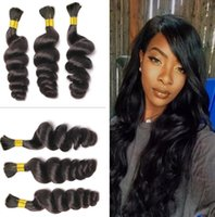Wholesale human micro braid hair - 7A Peruvian Loose Wave Hair Micro mini Braiding Bulk Hair For Braiding Loose Curly Human Braiding Hair Bulk Natural Black Color