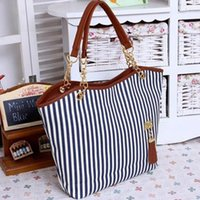 Wholesale Women S Tote Wholesale - Wholesale- 2016 New Canvas Color Block Women Handbag Shoulder Bags Striped Women\'s Handbags Messenger Bag Ladies Bag Women bags