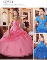 Wholesale Turquoise Ball Gowns Sleeves - New Arrival Ball Gown Sweetheart Hot Pink Turquoise organza Quinceanera Dresses With Short Sleeve Jacket Beaded Appliques Sequined