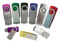 kalem döner toptan satış-Toptan özelleştirilmiş logo döner usb flash kalem sürücü 16 gb bellek sürücü ile gümüş kap