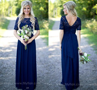 Wholesale drape lights weddings online - 2018 Country Bridesmaid Dresses Long For Weddings Navy Blue Chiffon Short Sleeves Illusion Lace Beads Floor Length Maid Honor Gowns CPS572