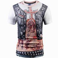 deri dövmeli toptan satış-Ride çıplak yelek T gömlek 3D deri motor dövme kısa kollu elbisesi Sokak rahat tees Sokak baskı giyim Unisex pamuk Tshirt