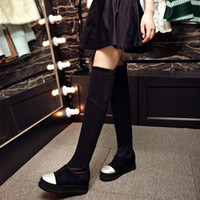 Wholesale Grey Long Boots For Women - Over the knee boots for women Fashion Designer long boots chunky height increased women stretch boots autumn winter shoes