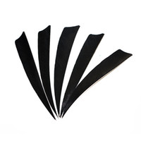 Wholesale Wholesale Wood Wings - 30pcs 4'' Left Wing Feathers for Glass Fiber Bamboo Wood Archery Arrows Hunting and Shooting Shield Black Fletching