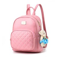 Wholesale Korean Leather Ladies Bags - new tide female backpack spring summer students fashion casual Korean women Schoolbag Cute High Quality Leather Teenage Girls